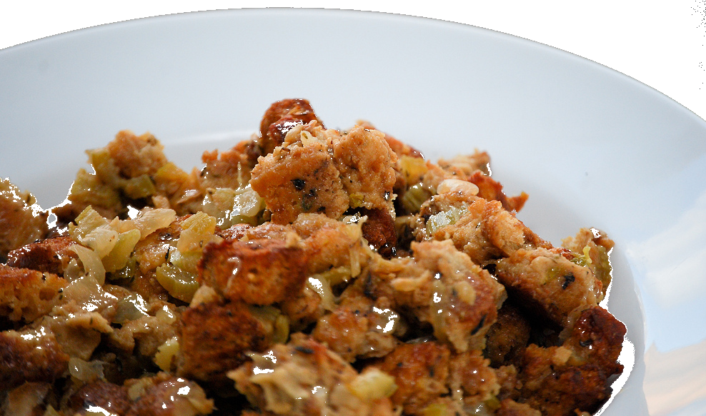 Stuffing in a dish